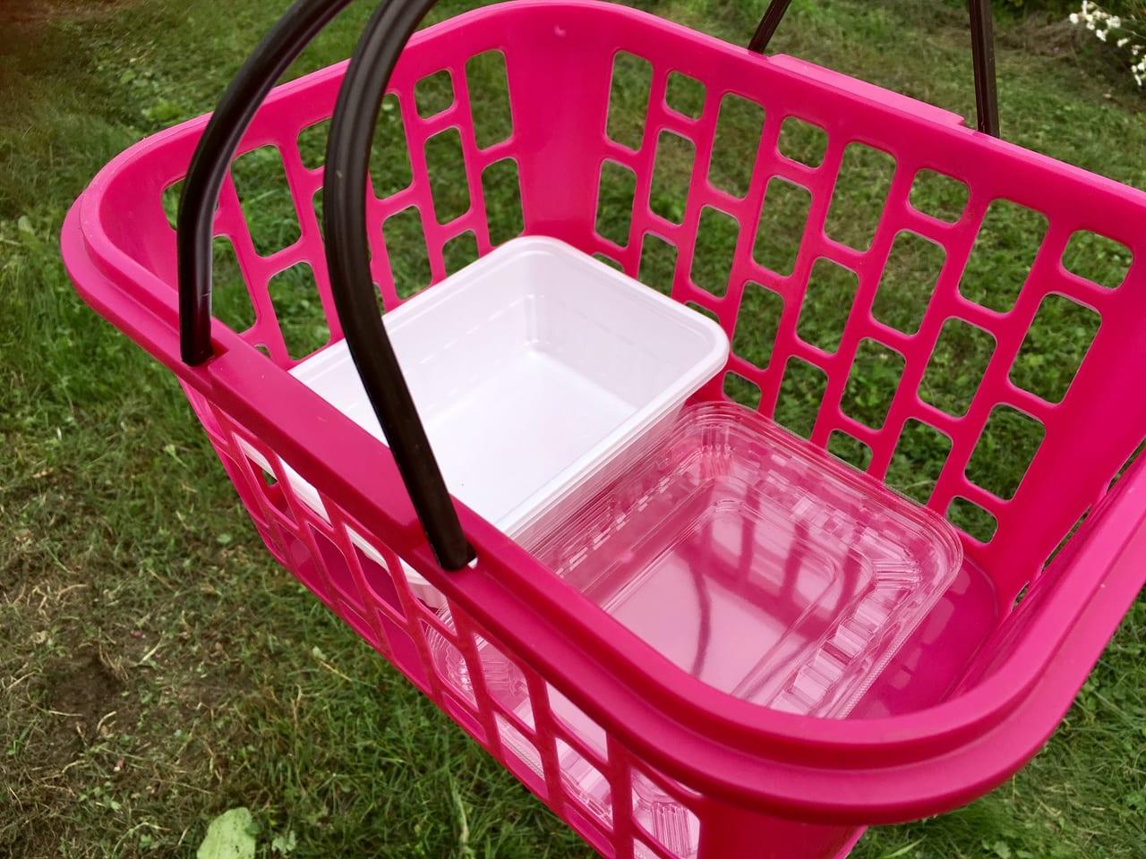 ハスカップの実を入れるための容器